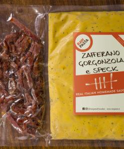 Il fantastico sugo Gorgonzola, Zafferano e Speck di Raw Pasta